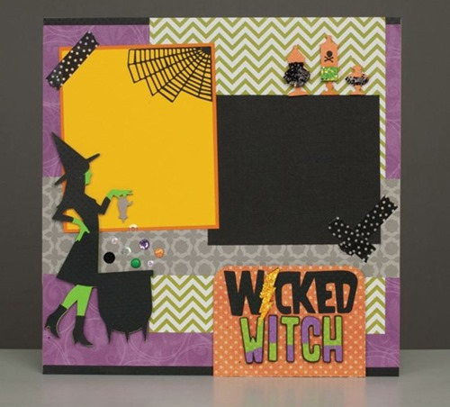 Halloween scrapbooking page layouts w. witches