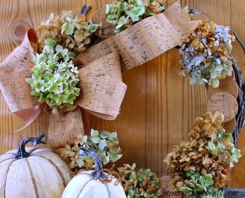 DIY Fall Decorations Cork Wreath hydrangea's-Cork Ribbon on grapevine wreath|One More Time Event-www.onemoretimeevents.com