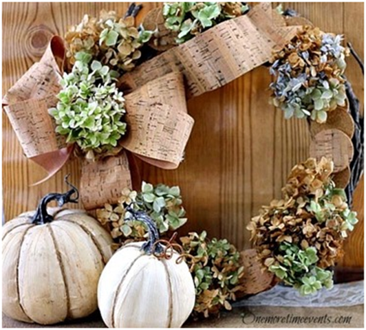 DIY Fall Decorations wth grape vine wreath decorated with hydrangeas and cork ribbon for fall |One More Time Events-www.onemoretimeevnts.com