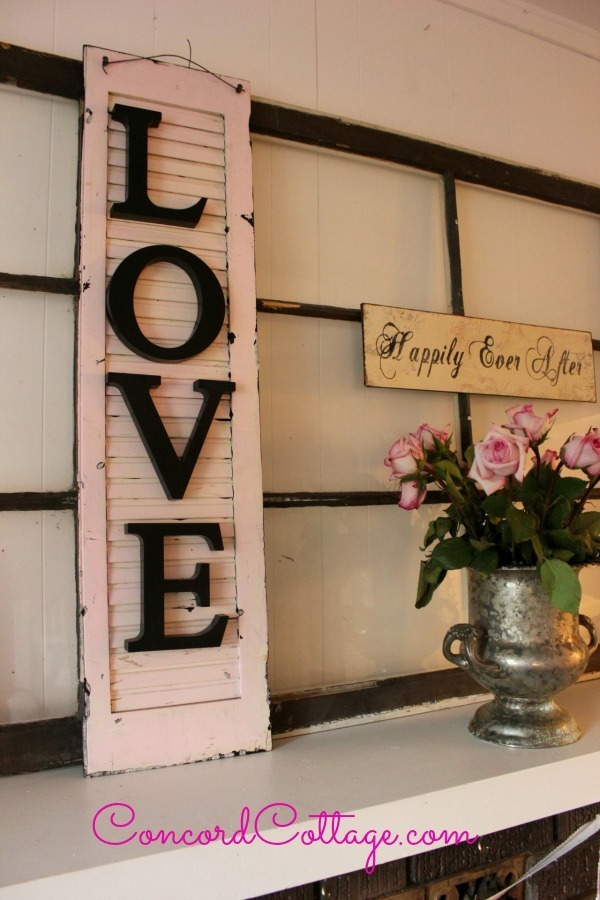recycled shutter wall art with Love letters