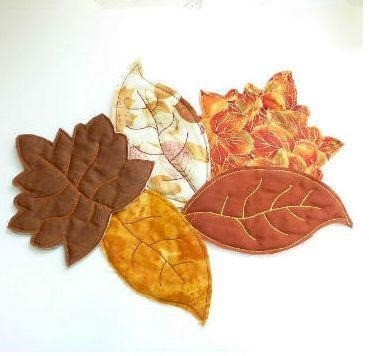 Quilted Leaf Coasters,Quilted Leaf Potholders and Tablerunner