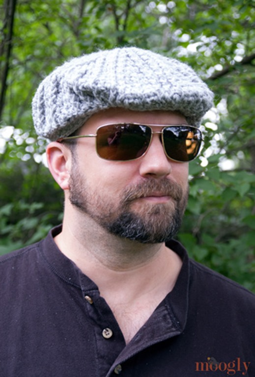 Winter hats for men :: FineCraftGuild.com :: mens cable golf cap crochet pattern