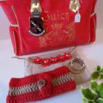 Red-Gold Ear Warmer Crochet Pattern with Button + LINKY PARTY