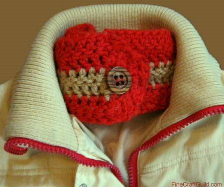 Red-Gold Ear Warmer Crochet Pattern with Button