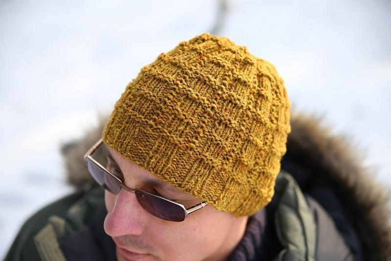 Winter hats for men :: FineCraftGuild.com :: knitting pattern for men's hat in mustard color