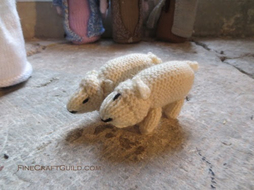 Knitted Nativity Scene sheep