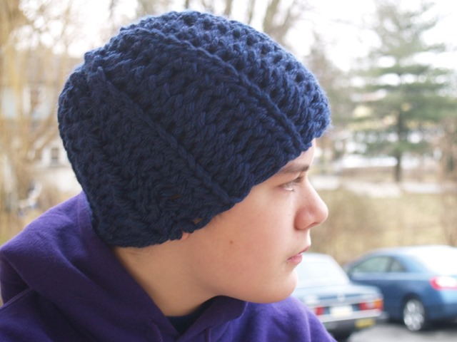 Winter hats for men :: FineCraftGuild.com :: skully men hat crochet pattern