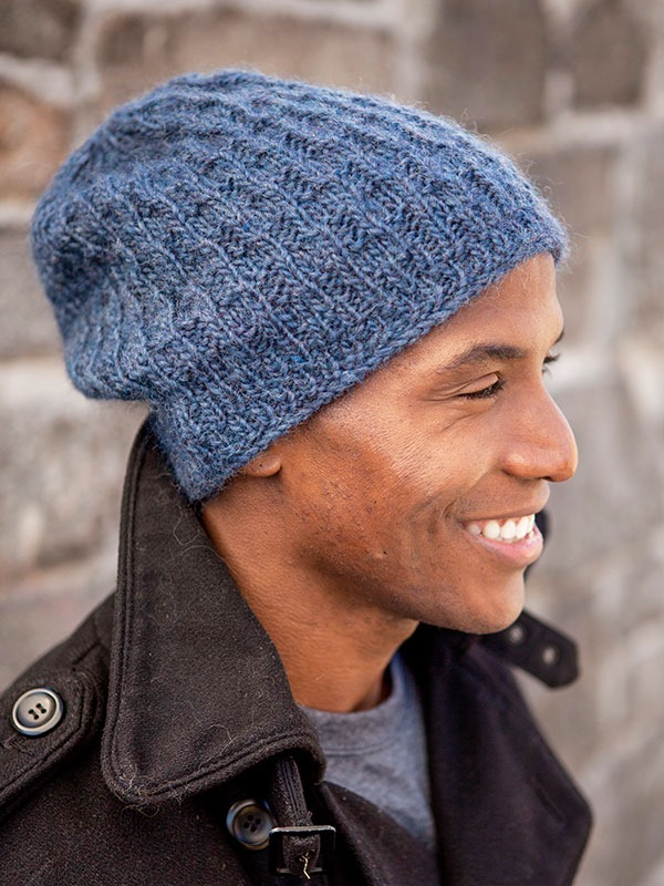 Winter hats for men :: FineCraftGuild.com :: free pattern slouchy mens hat