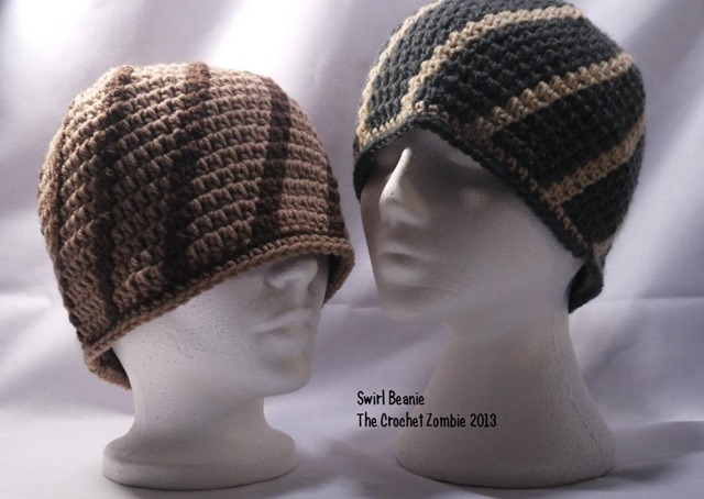 Winter hats for men :: FineCraftGuild.com :: mens hat crochet pattern swirl beanie
