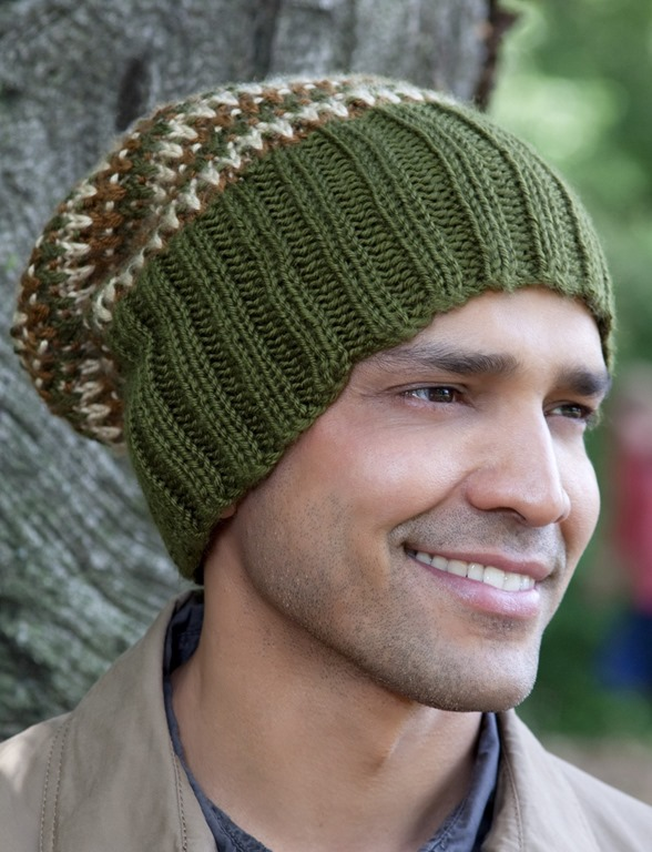 Winter hats for men :: FineCraftGuild.com :: knitting pattern for mens tri-color hat