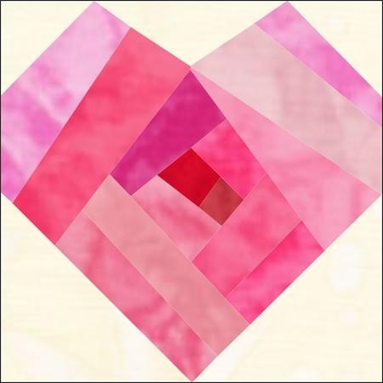 Quilt Block Patterns for Valentines Day (hearts) :: Log Cabin Heart quilt block