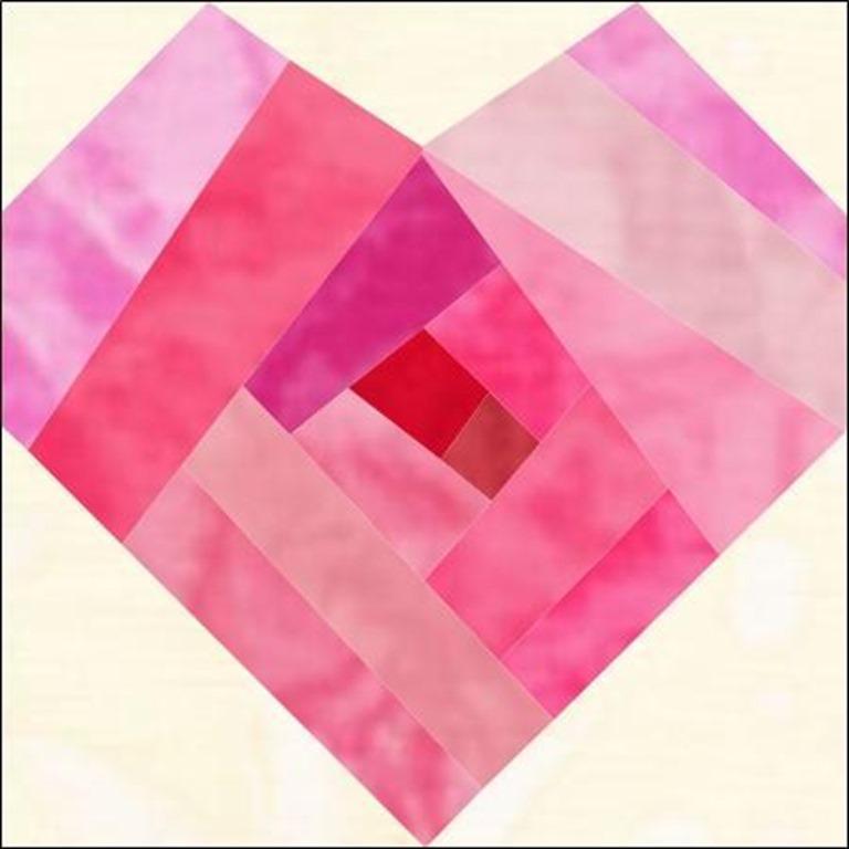 Log Cabin Heart quilt block pattern