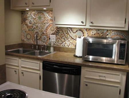 15 Unique Kitchen Backsplash Ideas :: FineCraftGuild.com :: recycled pottery mosaic