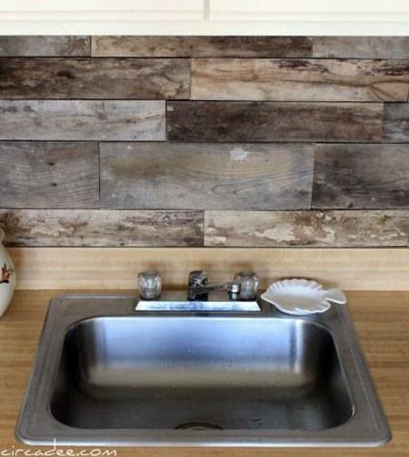 15 Unique Kitchen Backsplash Ideas :: FineCraftGuild.com :: recycled pallets