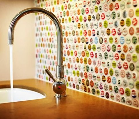 bottle caps :: 15 Unique Kitchen Backsplash Ideas :: FineCraftGuild.com