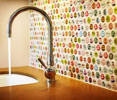 bottle caps :: 15 Unique Kitchen Backsplash Ideas :: FineCraftGuild.com