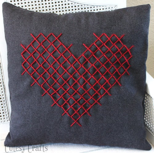 cross stitched heart valentine pillows