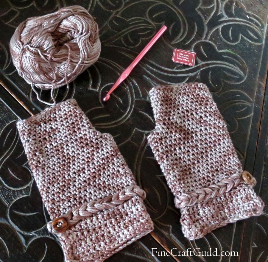 Elegant Fingerless Gloves Crochet Pattern :: FineCraftGuild.com