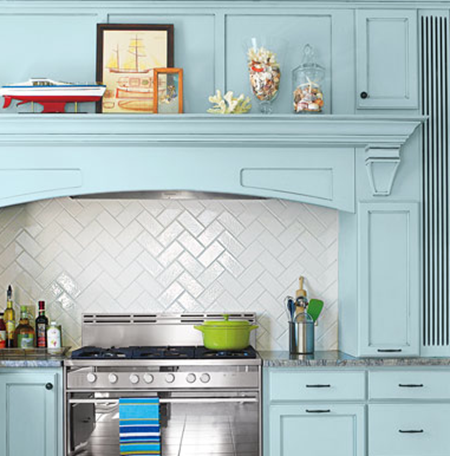 herringbone tiles :: 15 Unique Kitchen Backsplash Ideas :: FineCraftGuild.com