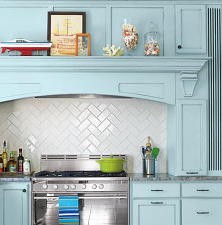 herringbone tiles :: 15 Unique Kitchen Backsplash Ideas :: FineCraftGuild.com