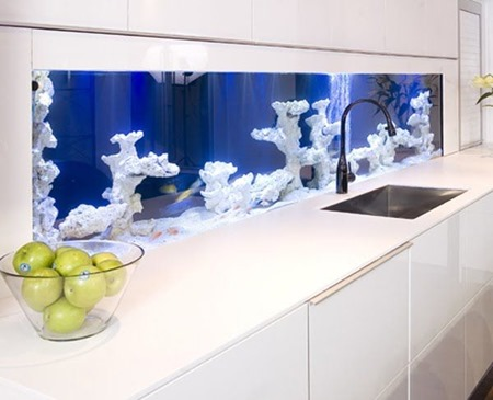15 unique kitchen backsplash ideas finecraftguildcom aquarium - Unique Kitchen Backsplash Ideas