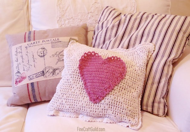 large crochet heart pillow, by FineCraftGuild