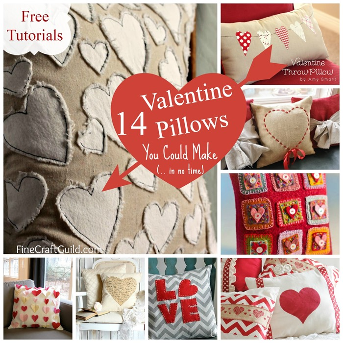 14 Cute Valentine Pillows (Free Sewing Tutorials)