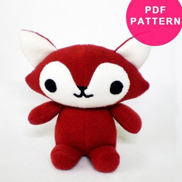 Free Fox Plush Animal Toy Pattern - Top Stuffed Animal Sewing Patterns - FineCraftGuild.com