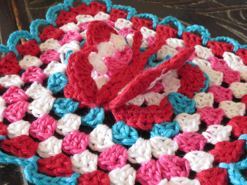 3d crochet butterfly granny square pattern by FineCraftGuild.com