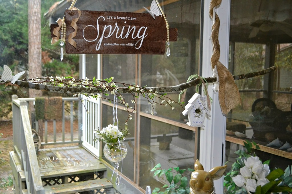 branch decor in spring window