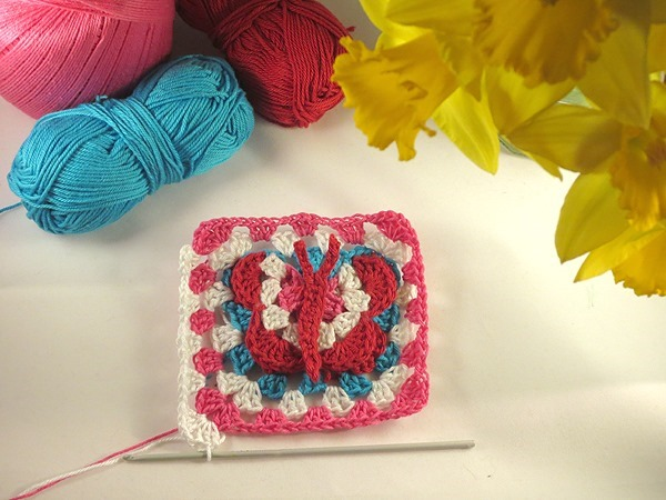 FREE 3D Butterfly Granny Square Crochet Pattern by FineCraftGuild.com