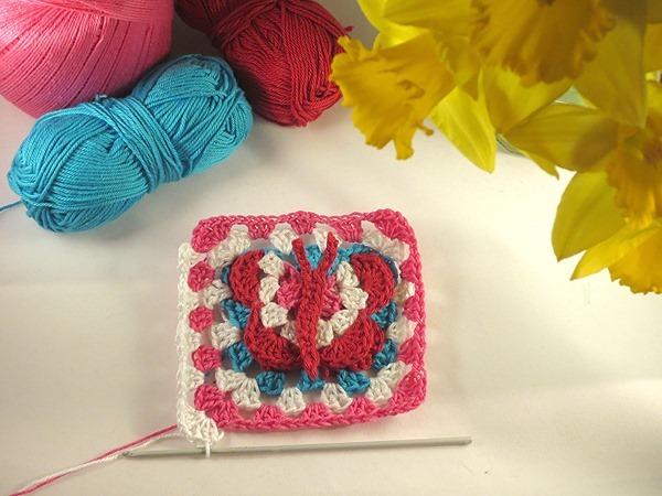 3D butterfly granny square crochet pattern