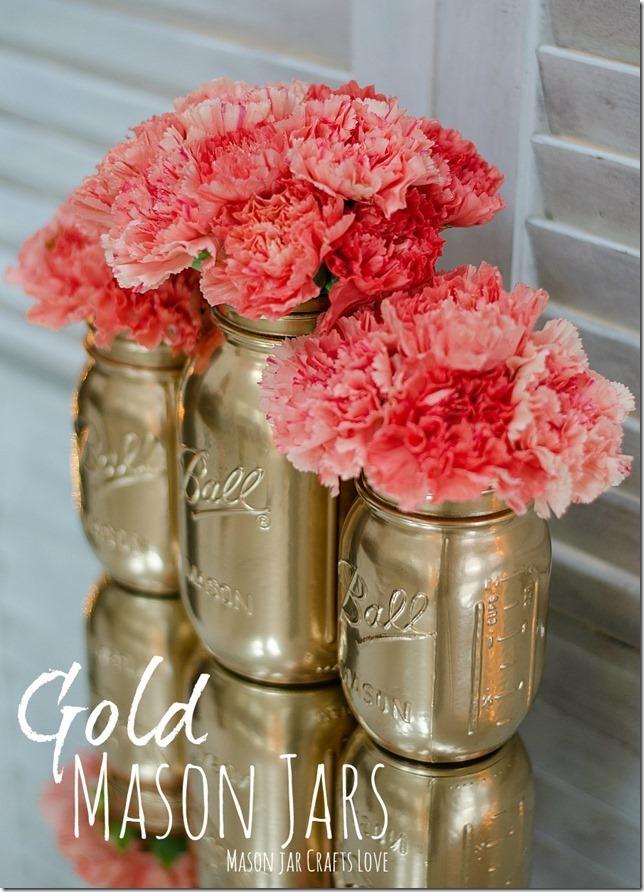 gold painted mason jars: 1 of 🌺 15 Easy DIY Mason Jars ideas  w Easter Treats 🌺