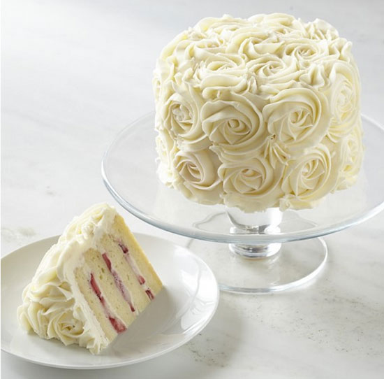 Strawberry-Vanilla Rose Cake a la William Sonoma with Buttercream Frosting Recipe :: FineCraftGuild.com
