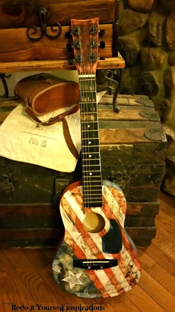 DIY decorative guitar, by Redoit Yourself Inspirations - Featured at FineCraftGuild.com