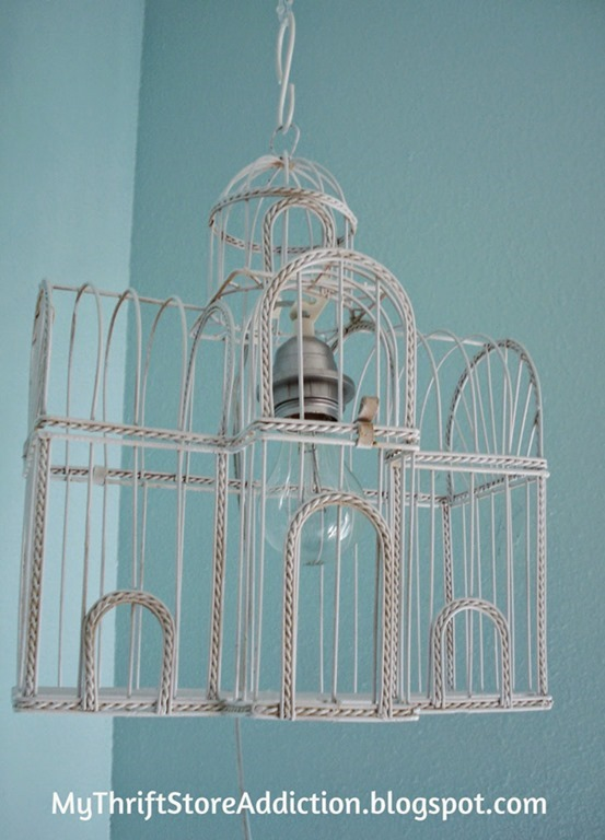 DIY birdcage lamp, by MyThriftStoreAddiction, Featured at FineCraftGuild.com