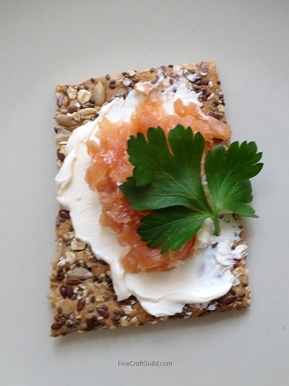 Simply good Chia Oat Crackers with Cream cheese and Smoked Salmon