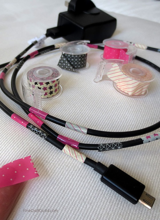 Brighten up Power Cords with Washi Tape