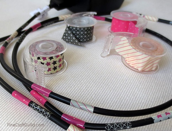 DIY Power Cords with Washi Tape by FineCraftGuild.com