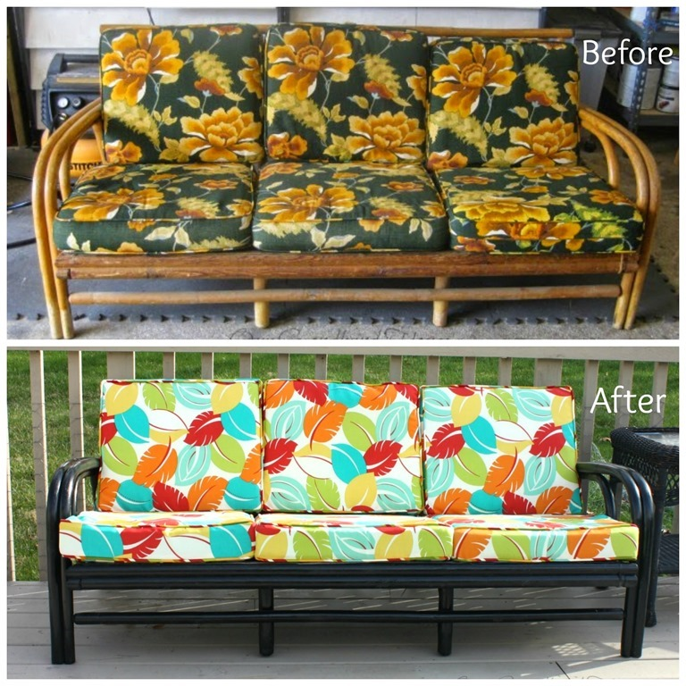 DIY Rattan Sofa Before After - A transformation with Beautiful Detail, by Our Second-hand House, Featured at FineCraftGuild.com