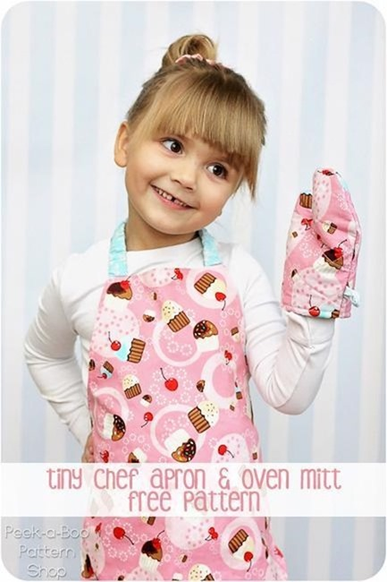 Free Sewing Pattern for Adorable Kids Oven Mitts and Girl Apron