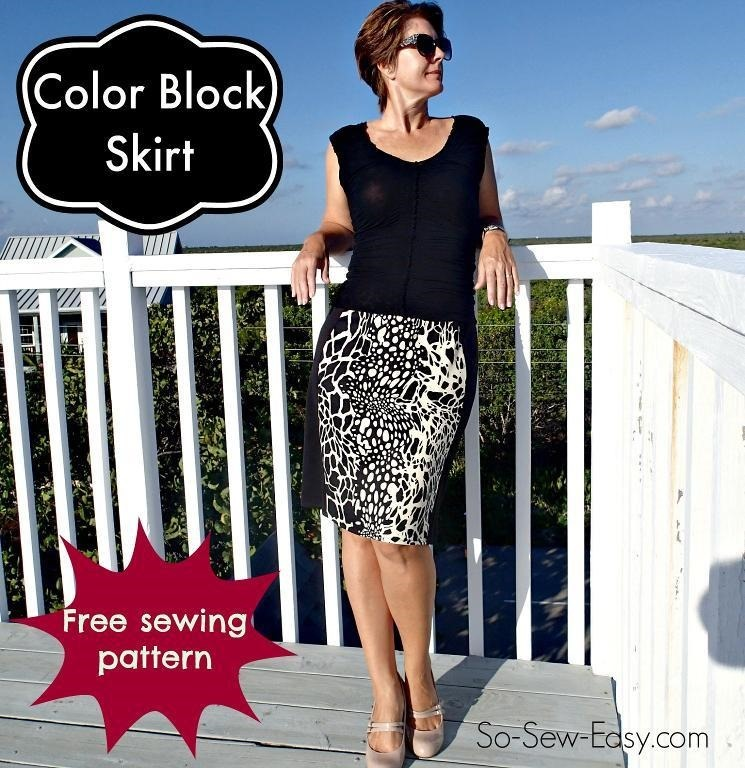 Easy Figure Flattering Skirt :: color block skirt :: free sewing pattern