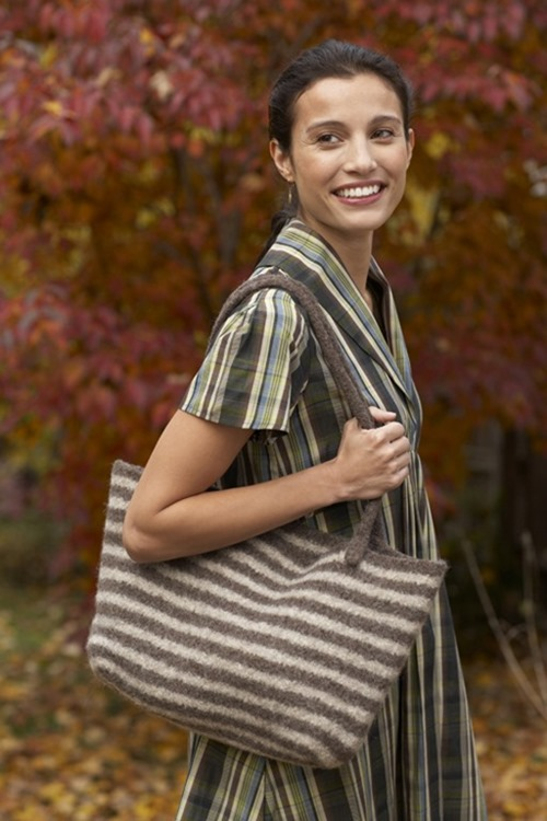 Easy Felted Tote Bag in Cheery Stripes (free knitting pattern)