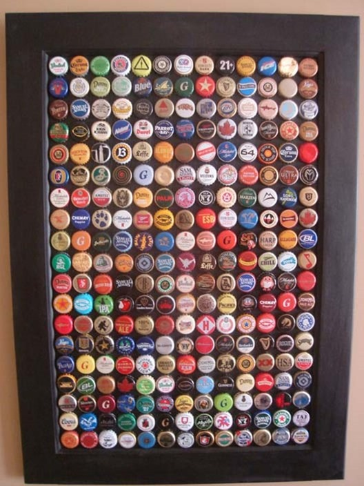 recycled bottle cap wall art