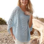 summer knitting cotton poncho sweater