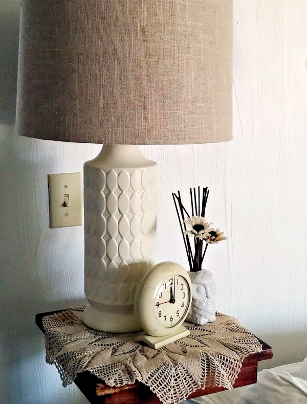 DIY bedroom lamp makeover by Little Vintage Cottage- featured at FineCraftGuild.com