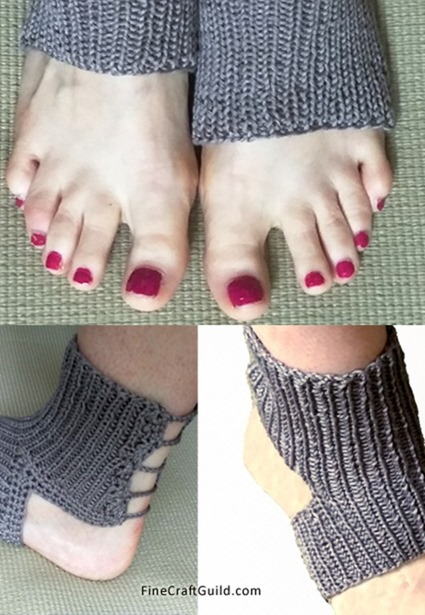 Easy Knitting Pattern For Yoga Socks : Easy Yoga Socks Knitting Pattern - knit flat, not in-the-round
