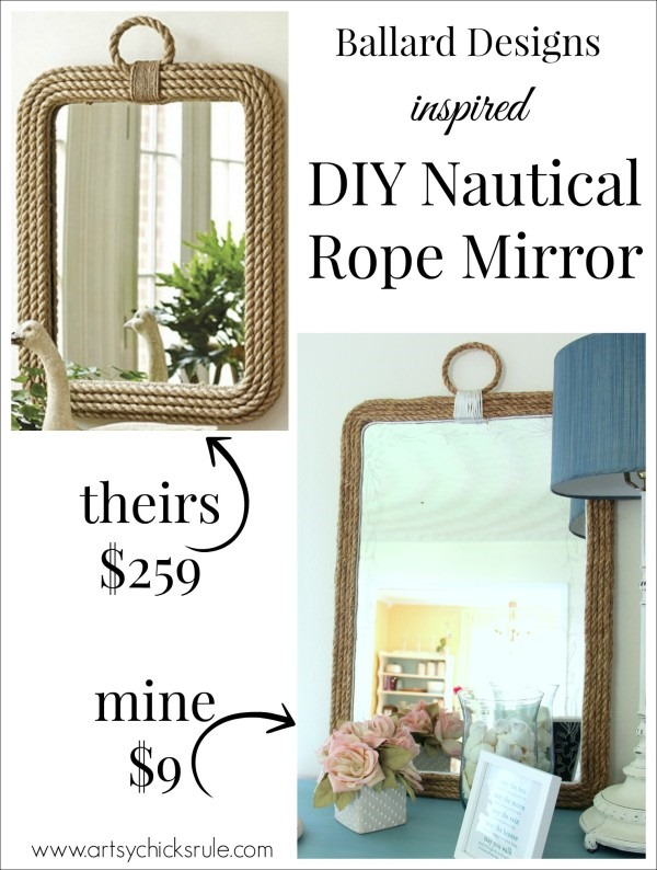 DIY Nautical Rope Mirror Inspired by Ballard Designs Hot Glue Rope thrifty