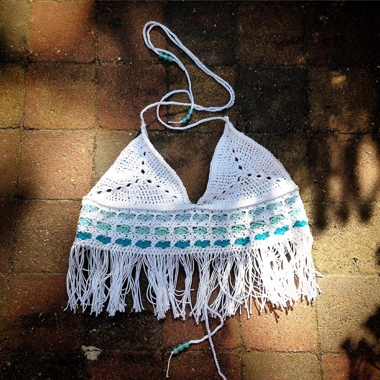 Original Crochet Ideas featured at FineCraftGuild.com - crochet bikini tank top fringe