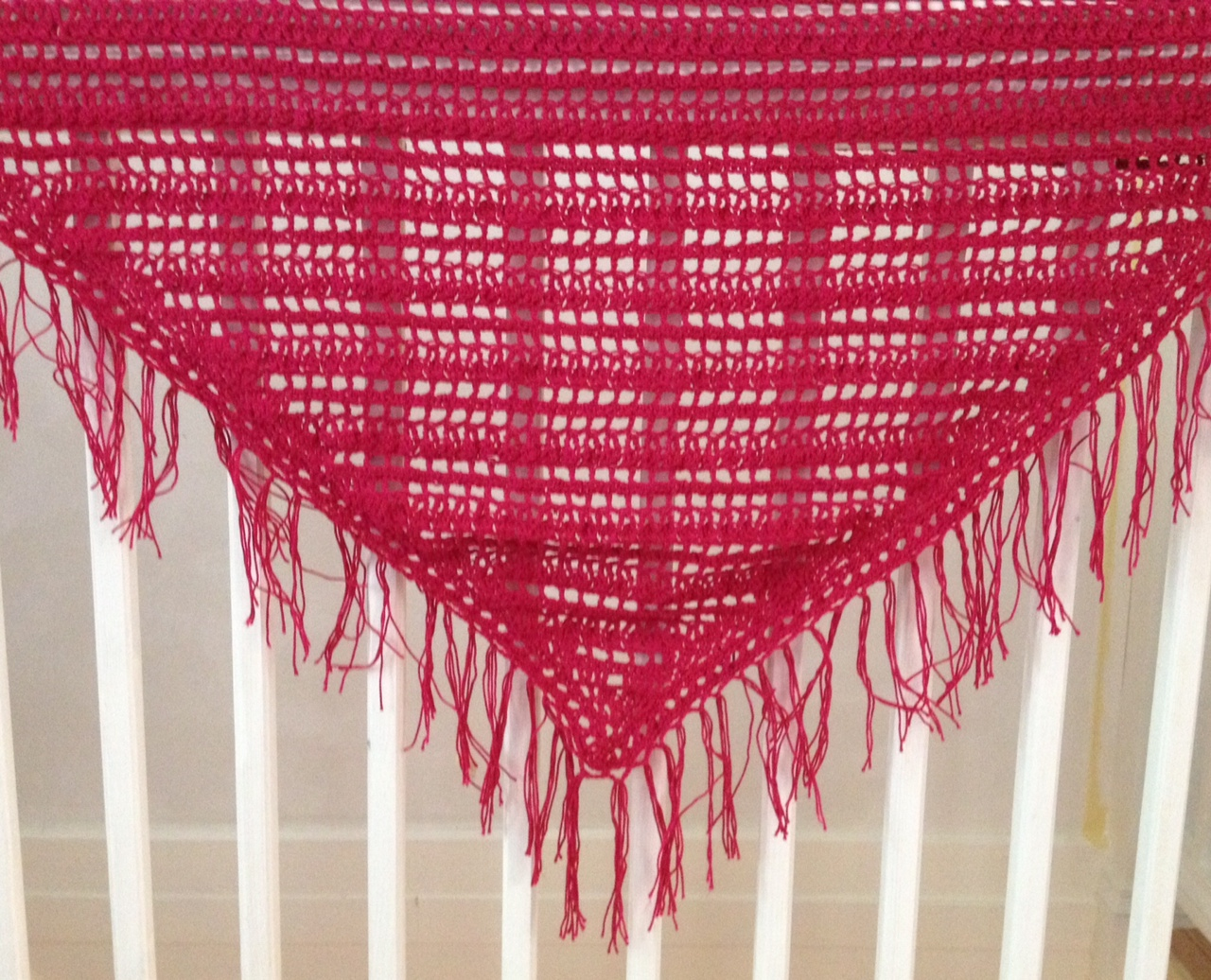 Free crochet pattern for lace triangle_shawl by Liz and Barbara, Howling at the Moon, featured on FineCraftGuild.com